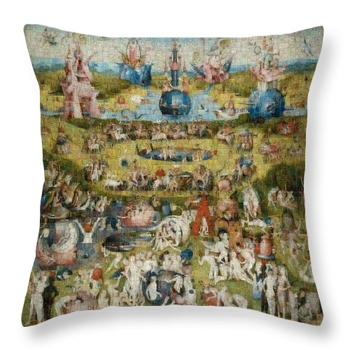 Tribute to Bosch - Throw Pillow - ALEFBET - THE HEBREW LETTERS ART GALLERY