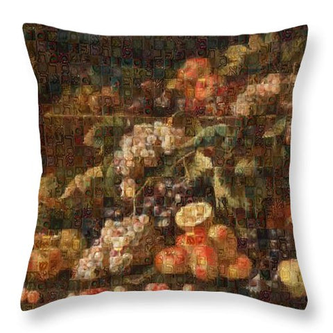Tribute to Bruegel - Throw Pillow - ALEFBET - THE HEBREW LETTERS ART GALLERY