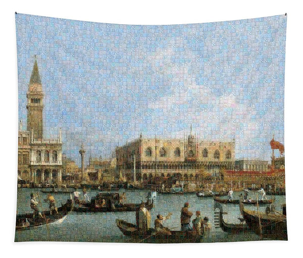 Tribute to Canaletto - Tapestry - ALEFBET - THE HEBREW LETTERS ART GALLERY