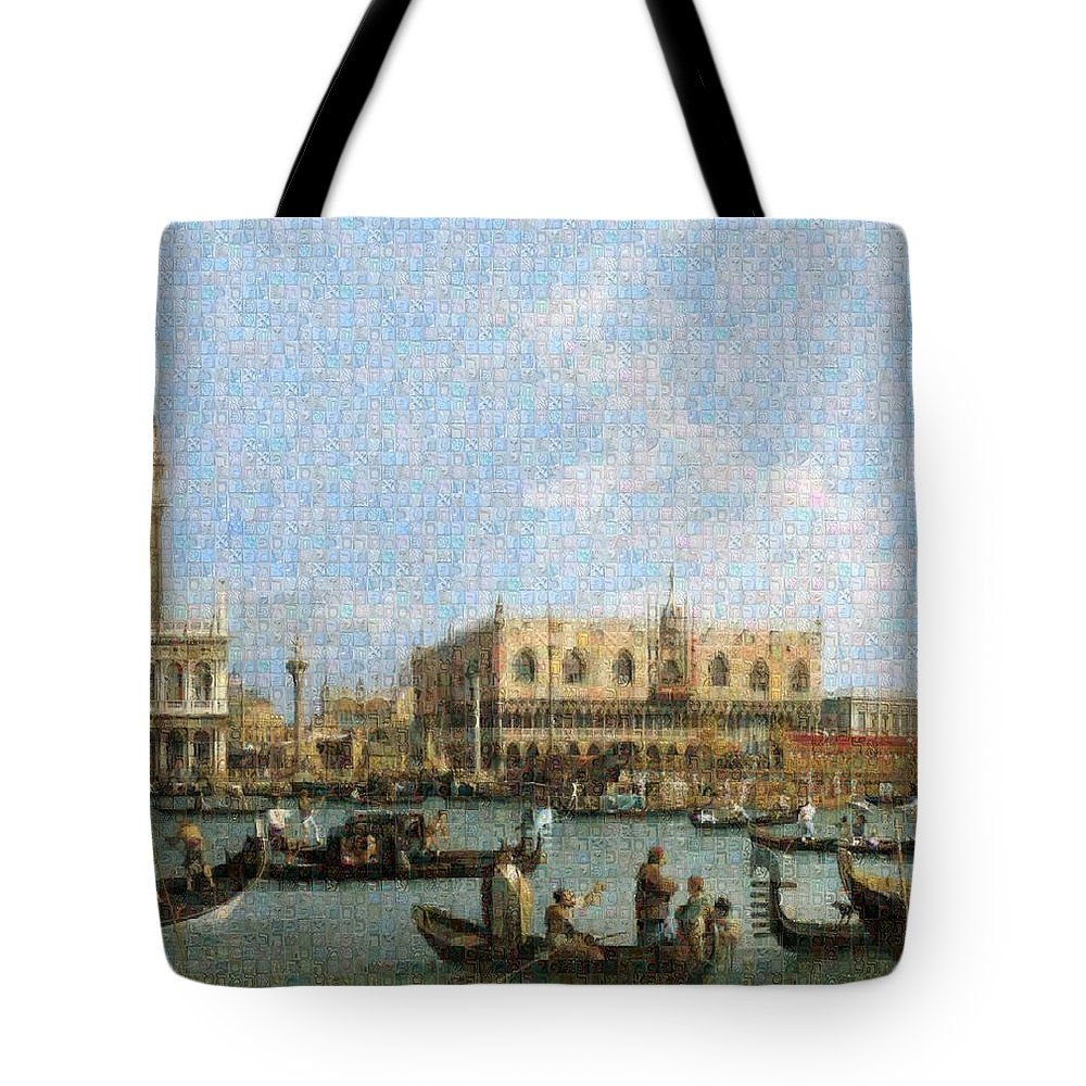 Tribute to Canaletto - Tote Bag - ALEFBET - THE HEBREW LETTERS ART GALLERY