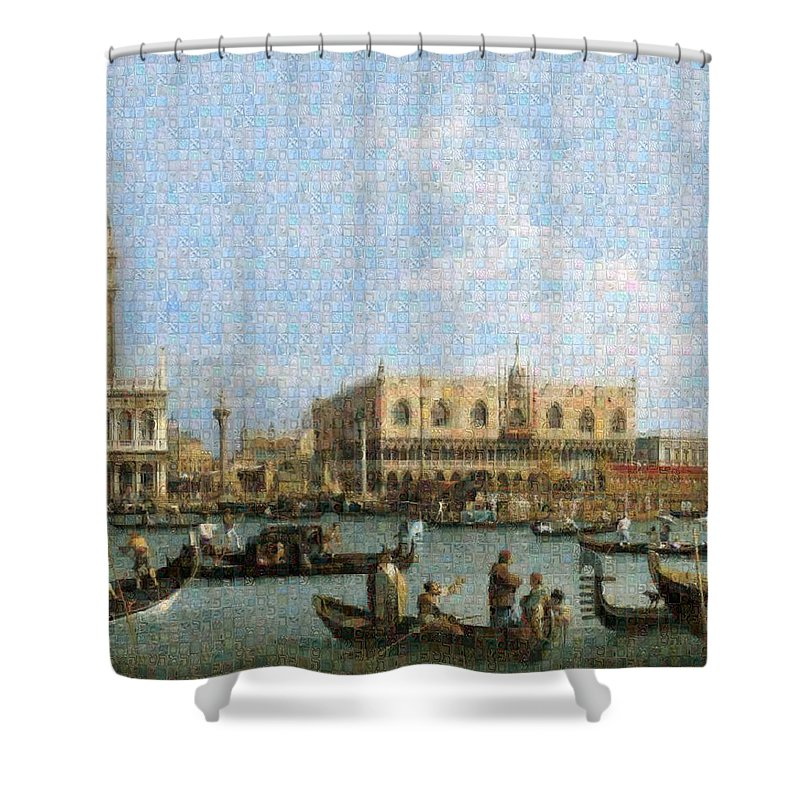 Tribute to Canaletto - Shower Curtain - ALEFBET - THE HEBREW LETTERS ART GALLERY