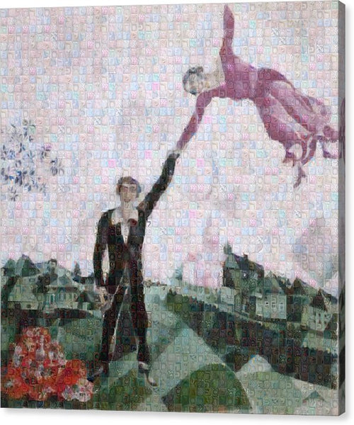 Tribute to Chagall . 2 - Canvas Print - ALEFBET - THE HEBREW LETTERS ART GALLERY