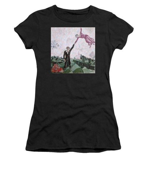 Tribute to Chagall . 2 - Women's T-Shirt - ALEFBET - THE HEBREW LETTERS ART GALLERY