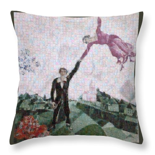 Tribute to Chagall . 2 - Throw Pillow - ALEFBET - THE HEBREW LETTERS ART GALLERY