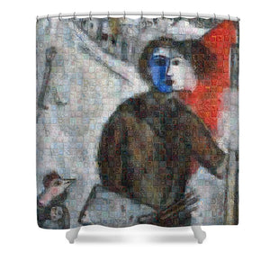 Tribute to Chagall . 3 - Shower Curtain - ALEFBET - THE HEBREW LETTERS ART GALLERY