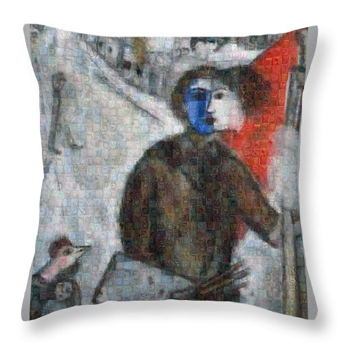 Tribute to Chagall . 3 - Throw Pillow - ALEFBET - THE HEBREW LETTERS ART GALLERY