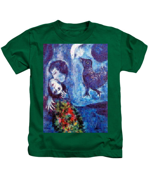 Tribute to Chagall . 4 - Kids T-Shirt - ALEFBET - THE HEBREW LETTERS ART GALLERY