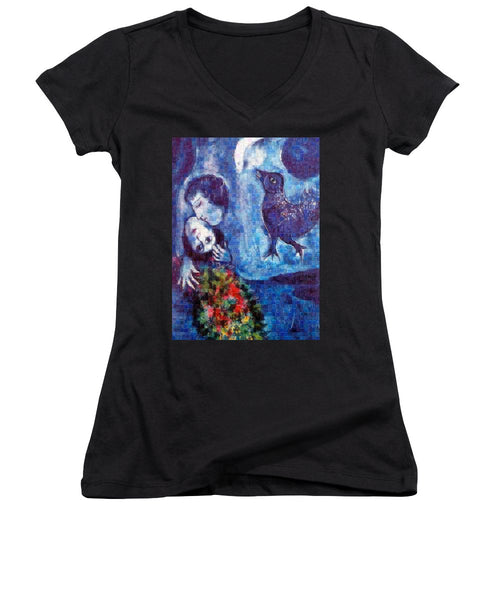 Tribute to Chagall . 4 - Women's V-Neck - ALEFBET - THE HEBREW LETTERS ART GALLERY