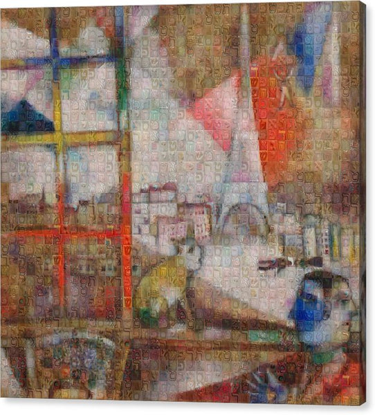 Tribute to Chagall . 5 - Canvas Print - ALEFBET - THE HEBREW LETTERS ART GALLERY