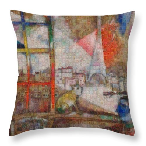 Tribute to Chagall . 5 - Throw Pillow - ALEFBET - THE HEBREW LETTERS ART GALLERY