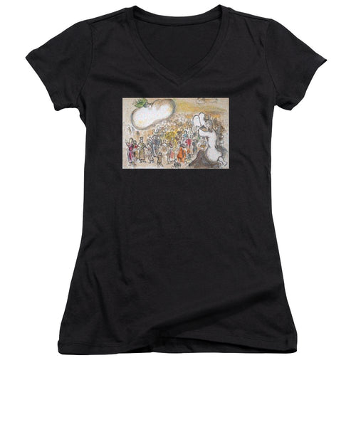 Tribute to Chagall - 6 - Women's V-Neck - ALEFBET - THE HEBREW LETTERS ART GALLERY