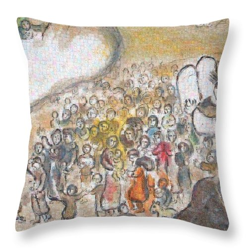 Tribute to Chagall - 6 - Throw Pillow - ALEFBET - THE HEBREW LETTERS ART GALLERY