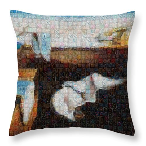Tribute to Dali - 1 - Throw Pillow - ALEFBET - THE HEBREW LETTERS ART GALLERY