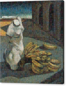 Tribute to De Chirico - 1 - Canvas Print - ALEFBET - THE HEBREW LETTERS ART GALLERY