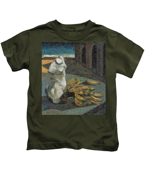 Tribute to De Chirico - 1 - Kids T-Shirt - ALEFBET - THE HEBREW LETTERS ART GALLERY
