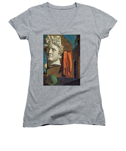 Tribute to De Chirico - 2 - Women's V-Neck - ALEFBET - THE HEBREW LETTERS ART GALLERY