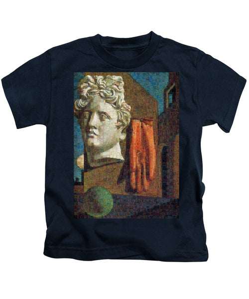 Tribute to De Chirico - 2 - Kids T-Shirt - ALEFBET - THE HEBREW LETTERS ART GALLERY