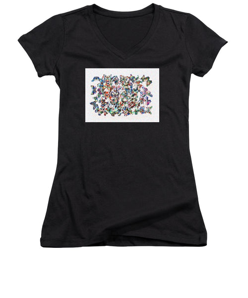 Tribute to Gestein - Women's V-Neck - ALEFBET - THE HEBREW LETTERS ART GALLERY