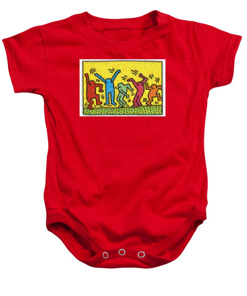 Tribute to Haring - Baby Onesie - ALEFBET - THE HEBREW LETTERS ART GALLERY