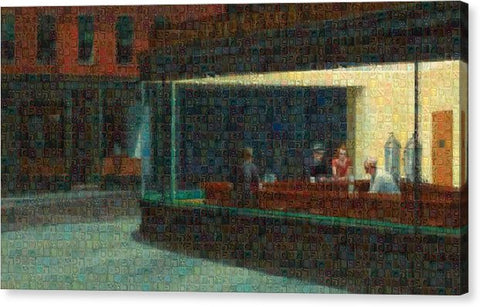 Tribute to Hopper - Canvas Print - ALEFBET - THE HEBREW LETTERS ART GALLERY