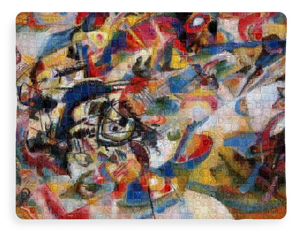 Tribute to Kandinsky - 1 - Blanket - ALEFBET - THE HEBREW LETTERS ART GALLERY