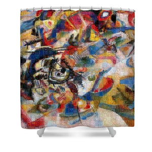 Tribute to Kandinsky - 1 - Shower Curtain - ALEFBET - THE HEBREW LETTERS ART GALLERY
