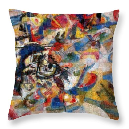 Tribute to Kandinsky - 1 - Throw Pillow - ALEFBET - THE HEBREW LETTERS ART GALLERY
