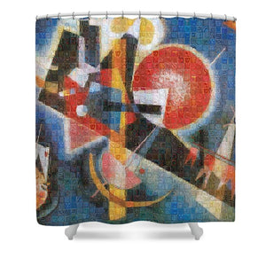 Tribute to Kandinsky - 3  - Shower Curtain - ALEFBET - THE HEBREW LETTERS ART GALLERY