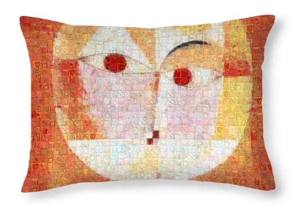 Tribute to Klee - 1 - Throw Pillow - ALEFBET - THE HEBREW LETTERS ART GALLERY