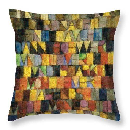 Tribute to Klee - 2 - Throw Pillow - ALEFBET - THE HEBREW LETTERS ART GALLERY