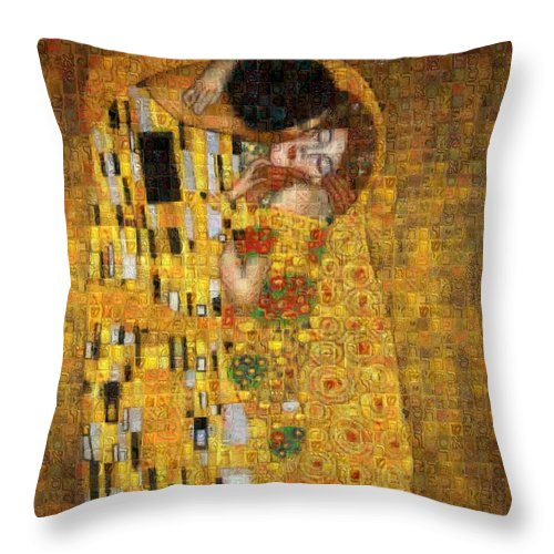 Tribute to Klimt - Throw Pillow - ALEFBET - THE HEBREW LETTERS ART GALLERY