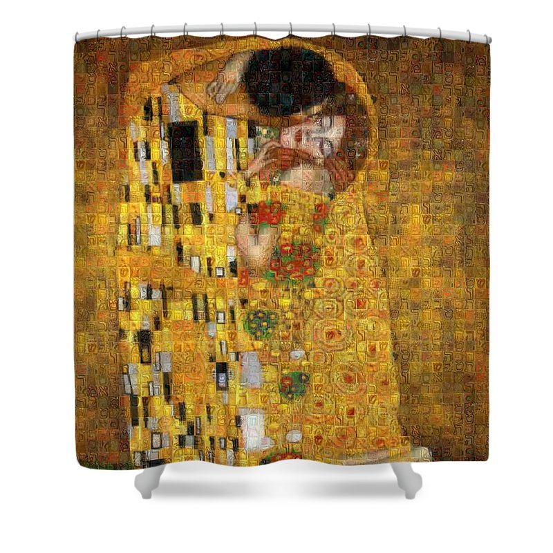 Tribute to Klimt - Shower Curtain - ALEFBET - THE HEBREW LETTERS ART GALLERY