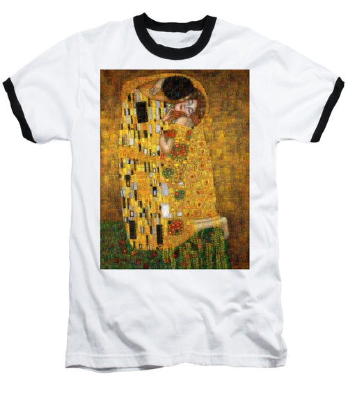 Tribute to Klimt - Baseball T-Shirt - ALEFBET - THE HEBREW LETTERS ART GALLERY
