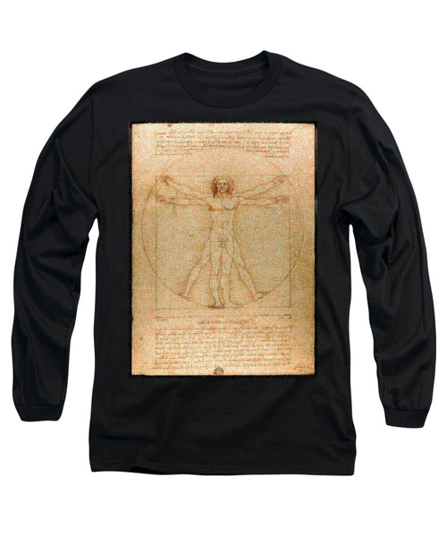 Tribute to Leonardo - Long Sleeve T-Shirt - ALEFBET - THE HEBREW LETTERS ART GALLERY