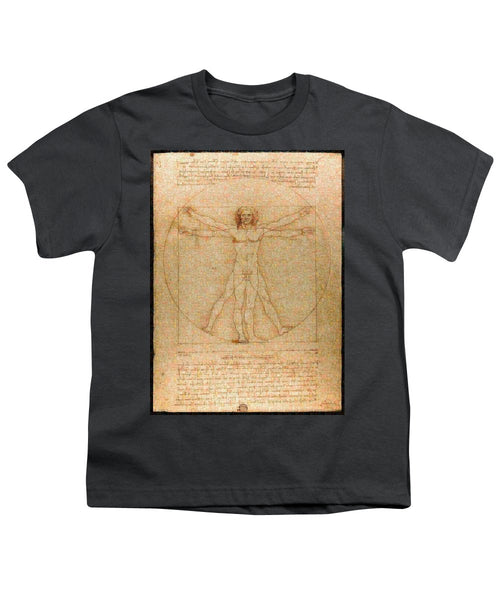 Tribute to Leonardo - Youth T-Shirt - ALEFBET - THE HEBREW LETTERS ART GALLERY