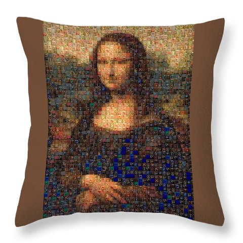 Tribute to Leonardo - Mona Lisa - Throw Pillow - ALEFBET - THE HEBREW LETTERS ART GALLERY