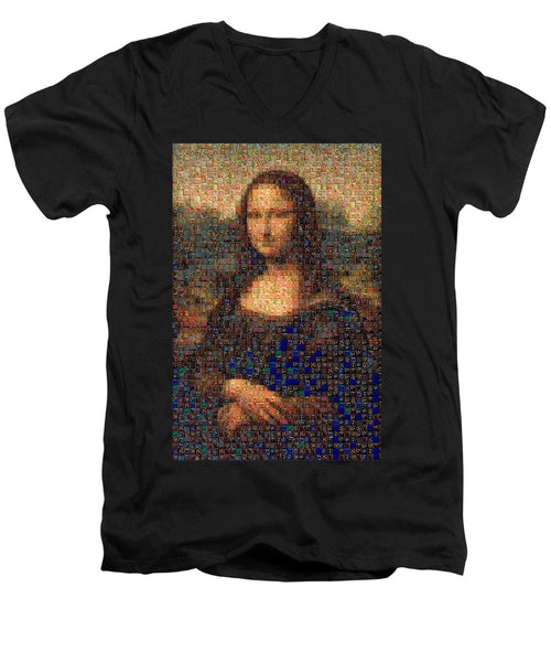 Tribute to Leonardo - Mona Lisa - Men's V-Neck T-Shirt - ALEFBET - THE HEBREW LETTERS ART GALLERY