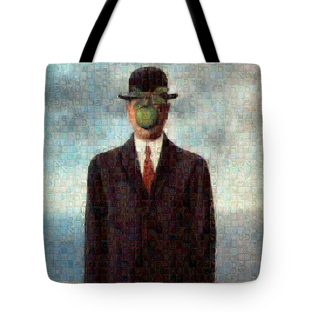 Tribute to MAgritte - Tote Bag - ALEFBET - THE HEBREW LETTERS ART GALLERY