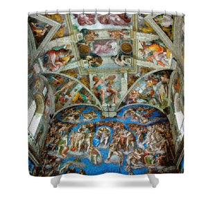 Tribute to Michelangelo - Shower Curtain - ALEFBET - THE HEBREW LETTERS ART GALLERY
