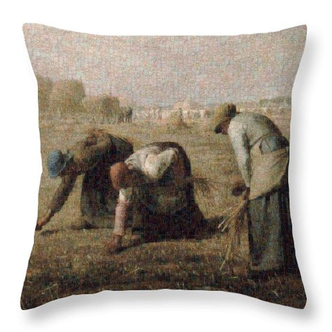 Tribute to Millet - Throw Pillow - ALEFBET - THE HEBREW LETTERS ART GALLERY