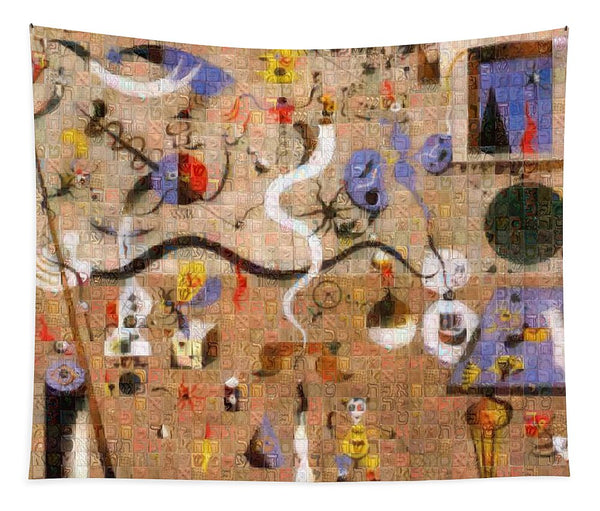 Tribute to Miro - 1 - Tapestry - ALEFBET - THE HEBREW LETTERS ART GALLERY