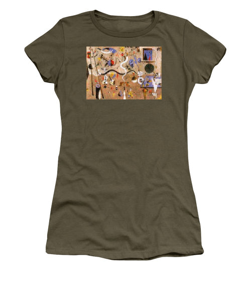 Tribute to Miro - 1 - Women's T-Shirt - ALEFBET - THE HEBREW LETTERS ART GALLERY