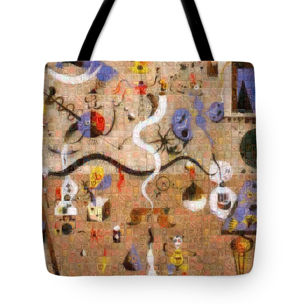 Tribute to Miro - 1 - Tote Bag - ALEFBET - THE HEBREW LETTERS ART GALLERY