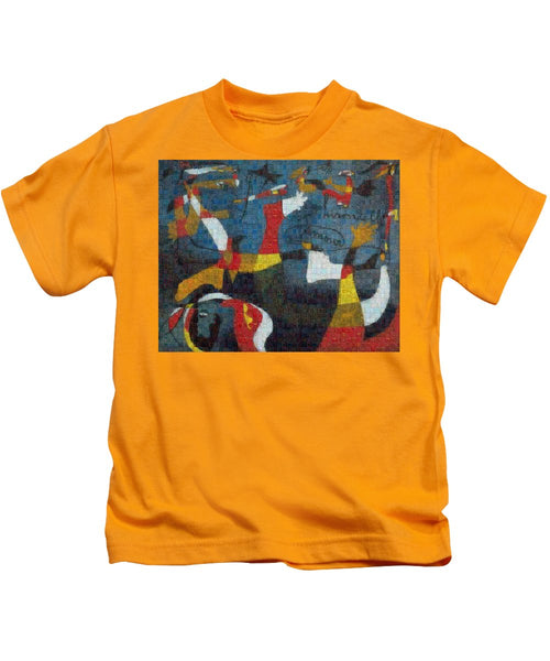 Tribute to Miro - 2 - Kids T-Shirt - ALEFBET - THE HEBREW LETTERS ART GALLERY