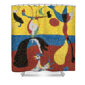 Tribute to Miro - 3 - Shower Curtain - ALEFBET - THE HEBREW LETTERS ART GALLERY