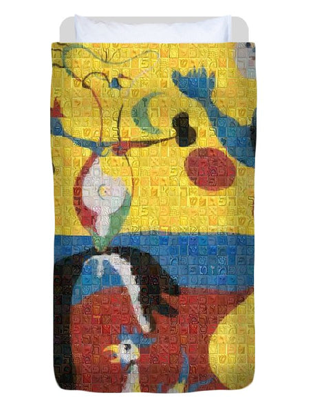 Tribute to Miro - 3 - Duvet Cover - ALEFBET - THE HEBREW LETTERS ART GALLERY