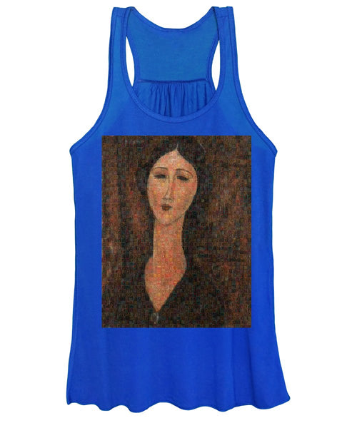 Tribute to Modigliani - 1 - Women's Tank Top - ALEFBET - THE HEBREW LETTERS ART GALLERY