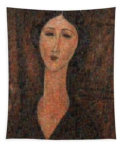 Tribute to Modigliani - 1 - Tapestry - ALEFBET - THE HEBREW LETTERS ART GALLERY