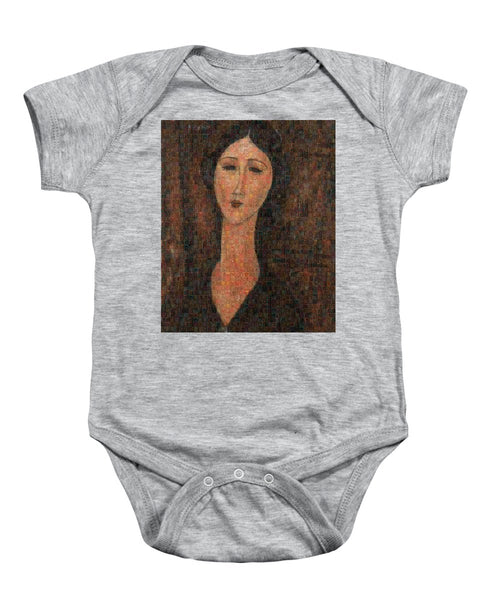 Tribute to Modigliani - 1 - Baby Onesie - ALEFBET - THE HEBREW LETTERS ART GALLERY