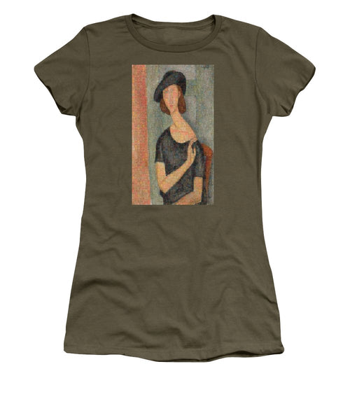 Tribute to Modigliani - 2 - Women's T-Shirt - ALEFBET - THE HEBREW LETTERS ART GALLERY